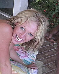 Ashly - Hot, leggy blonde interracial 2 on 1