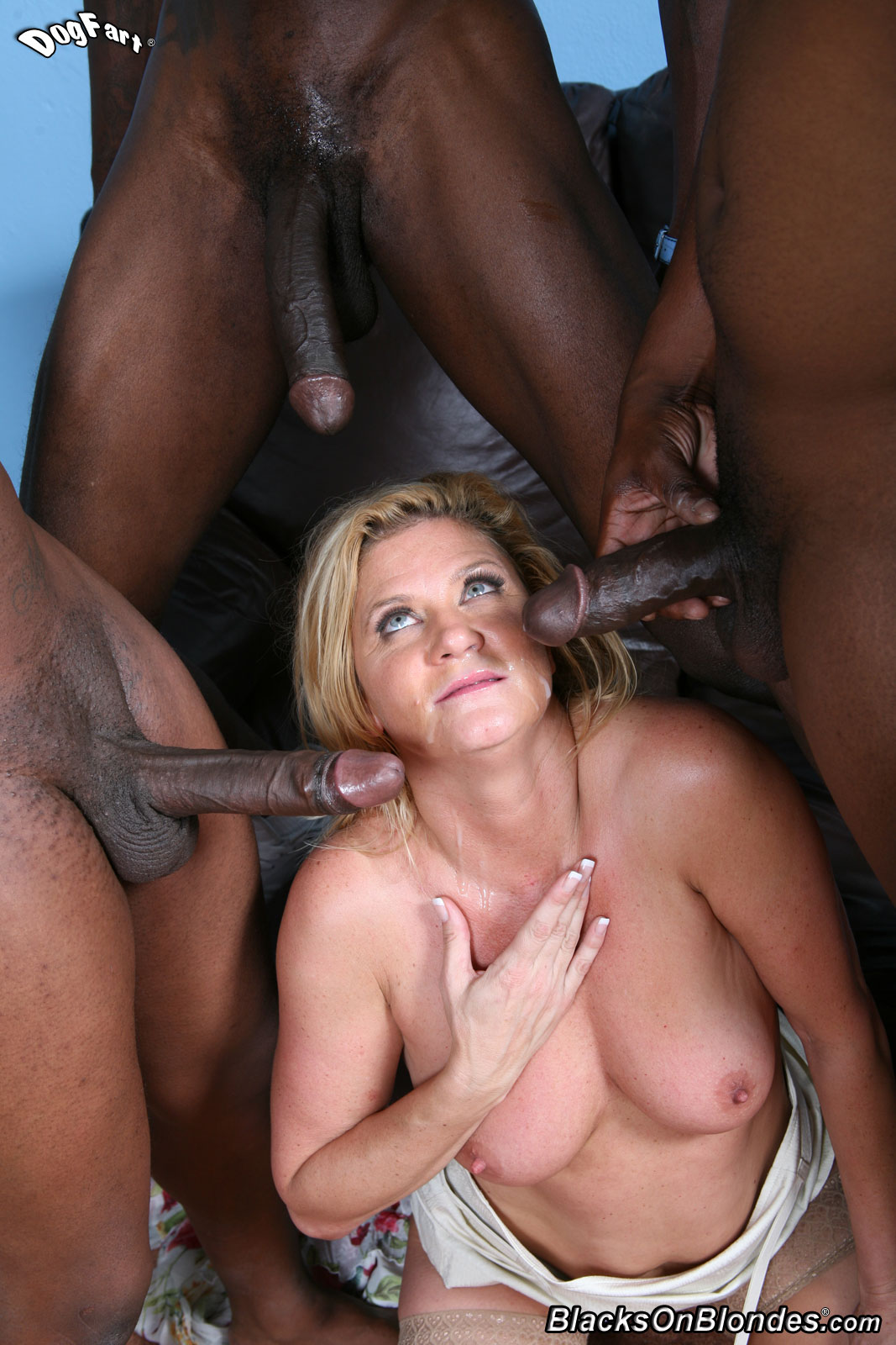 Blacks on blondes anal gangbang