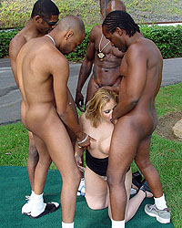 Holly Interracial Gang Bang