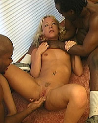 Hunter - blonde in interracial threesome rough sex choking
