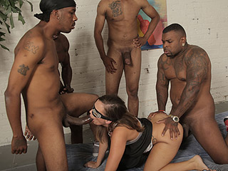 Jamie Jackson Interracial Gangbang Video