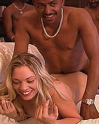 Savannah - Blonde beauty has interracial gangbang jizzfest