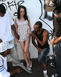 Veronica Jett Gangbang - Tiny brunette in hard interracial gangbang